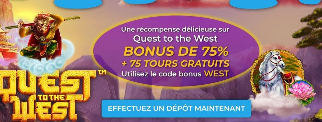 bonus pour le jeu quest to the west code bonus WEST sur jelly bean casino