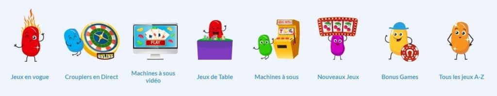 menu du casino en ligne jelly bean