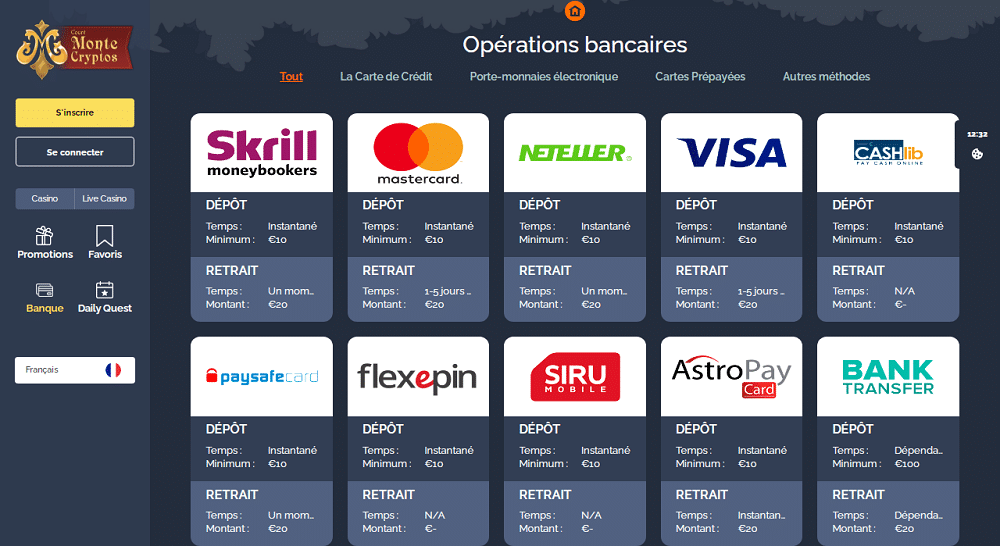 operations bancaires sur Montecryptos